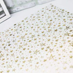 Ацетатный лист с фольгированием «Золотые звезды»