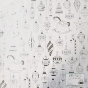 """Прозрачный ацетатный лист с серебряным фольгированием """"Ёлочные игрушки"""" от PolkaDot"""
