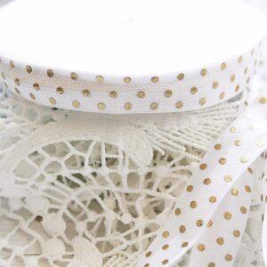 Резинка (горошек золотой на белом )