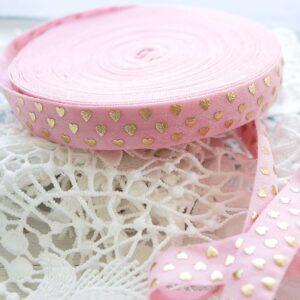 Резинка (золотые сердечки на розовом)