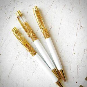 Ручка шариковая с фольгой - Белая с золотом