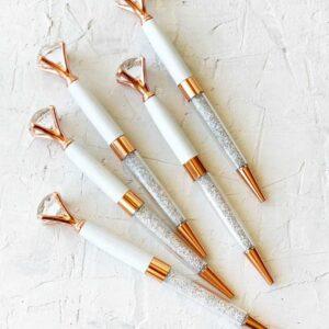 """Ручка шариковые """"Бриллиант с кристаллами """" Розовое золото с белым"""