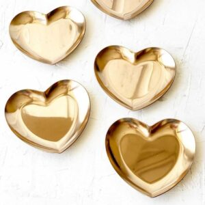 "Тарелочка сердце ""Приглушенное розовое золото"""